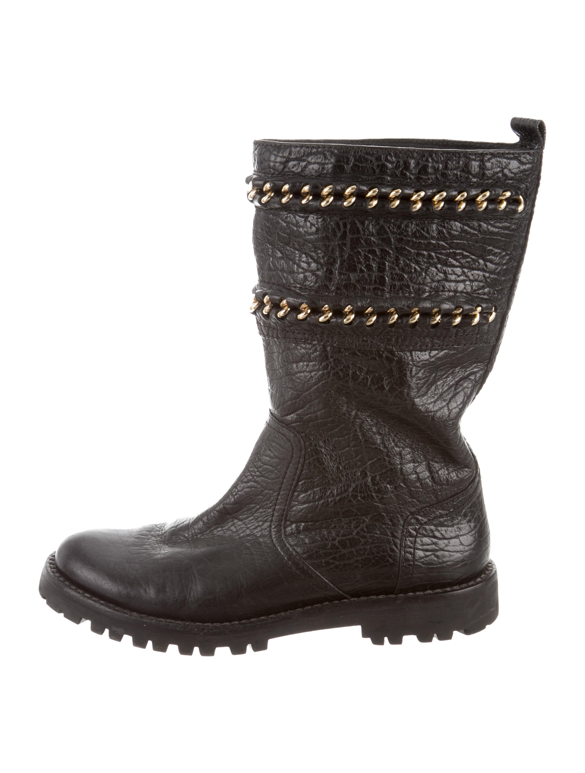 b43b0cf21876 Tory Burch Leather Mid-Calf Boots - Shoes - WTO134380