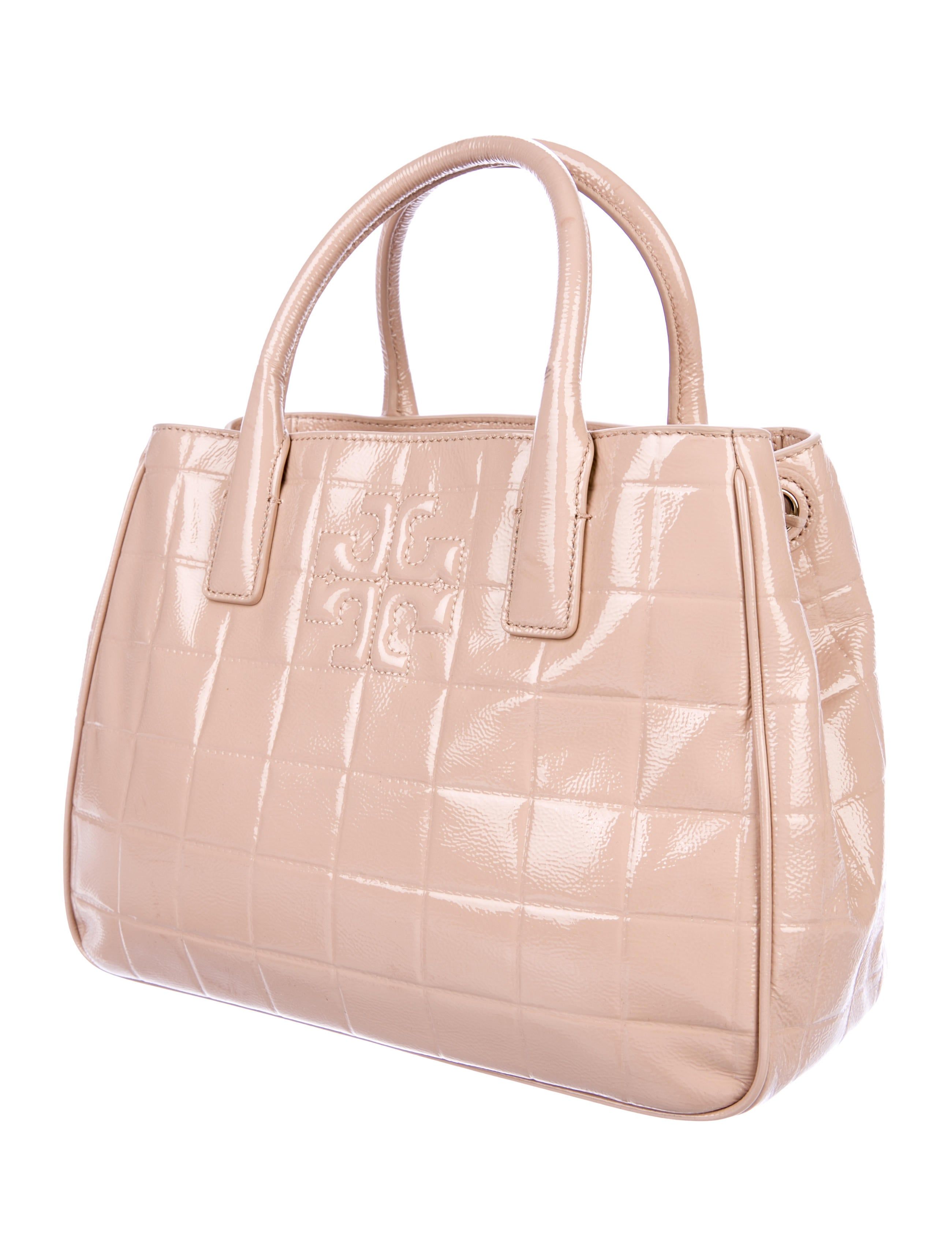 Tory Burch Marion Quilted Patent Leather Tote Handbags Wto145077
