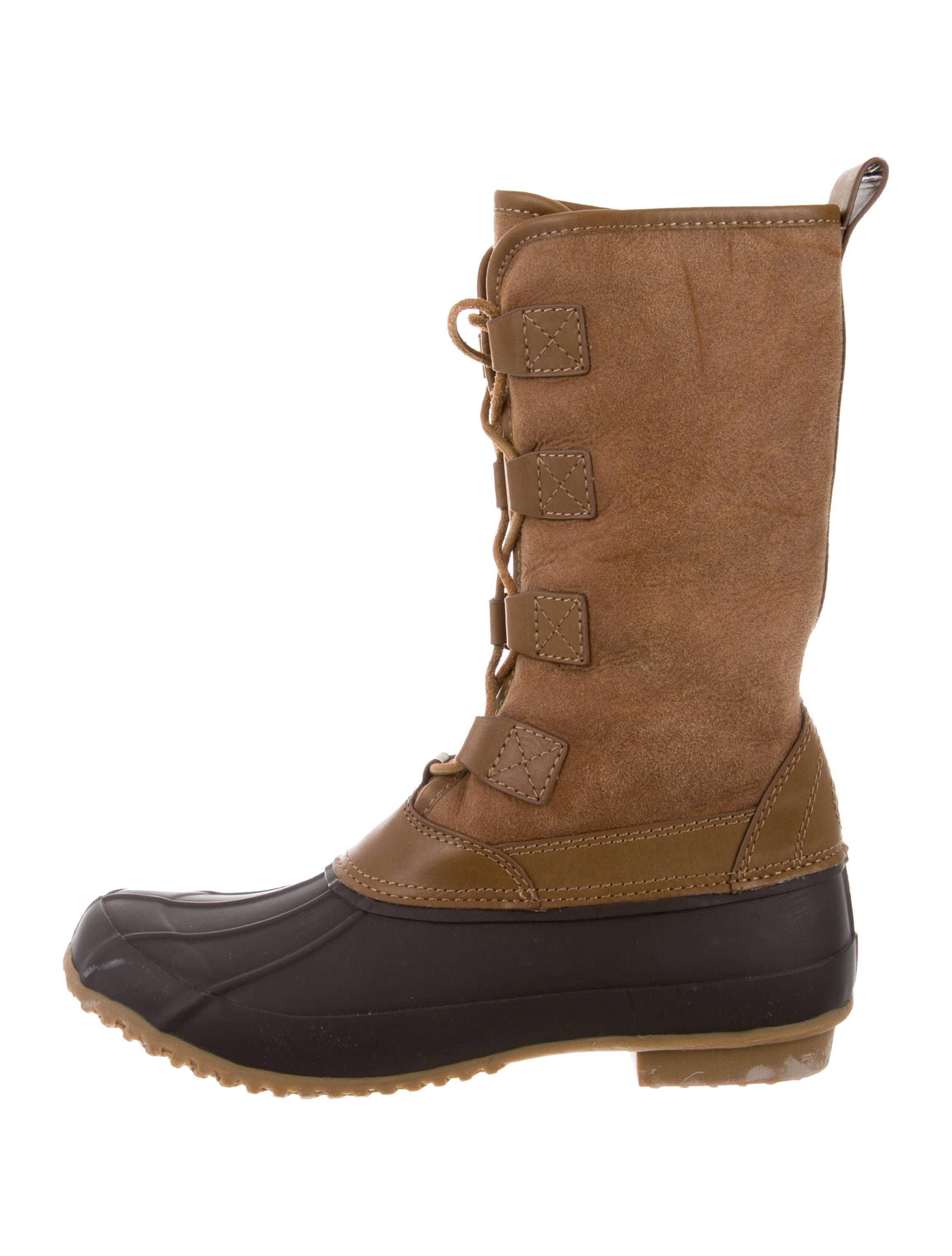 Tory Burch Lace-Tie Suede Duck Boots