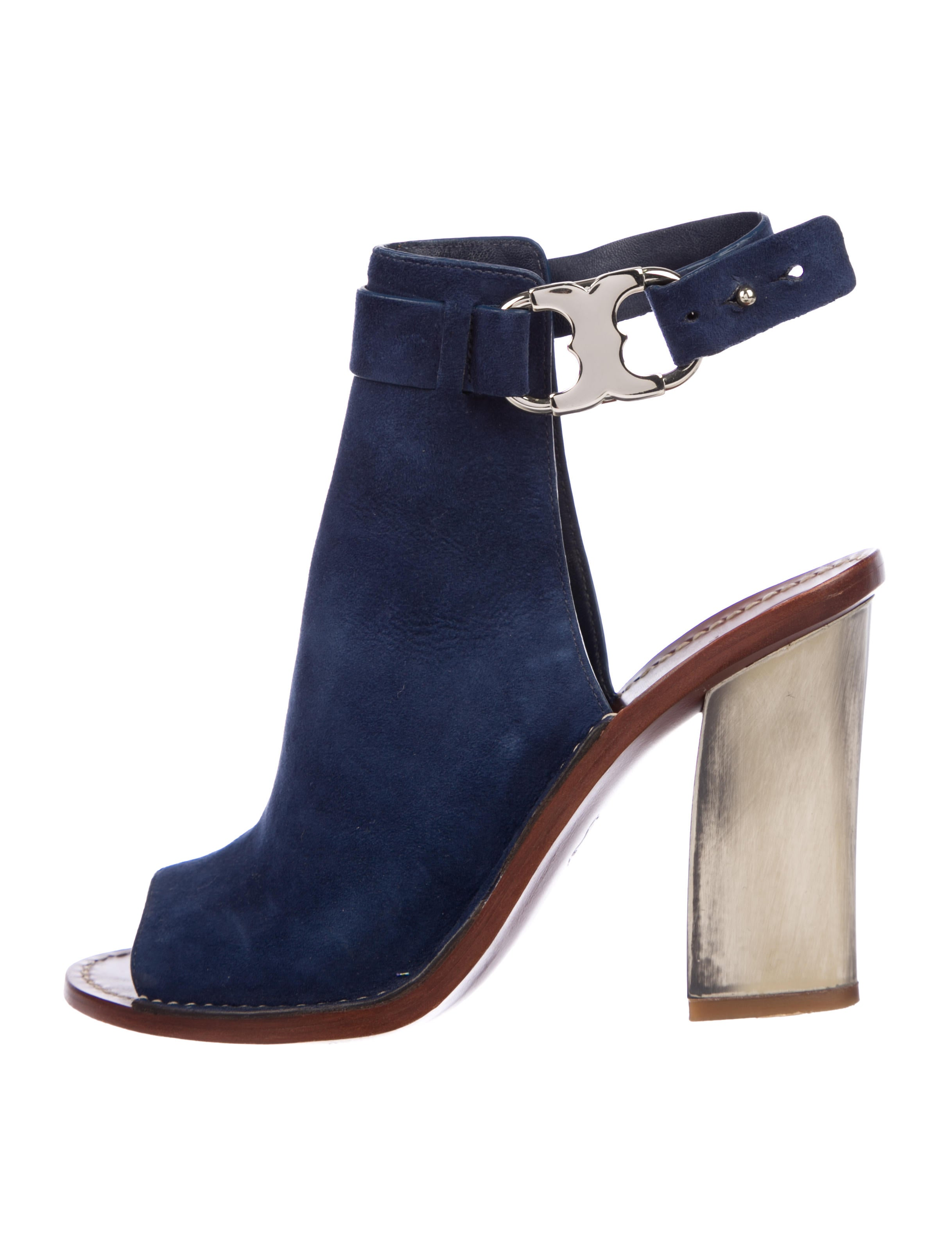 0497d0764 Tory Burch Suede Peep-Toe Booties - Shoes - WTO154682