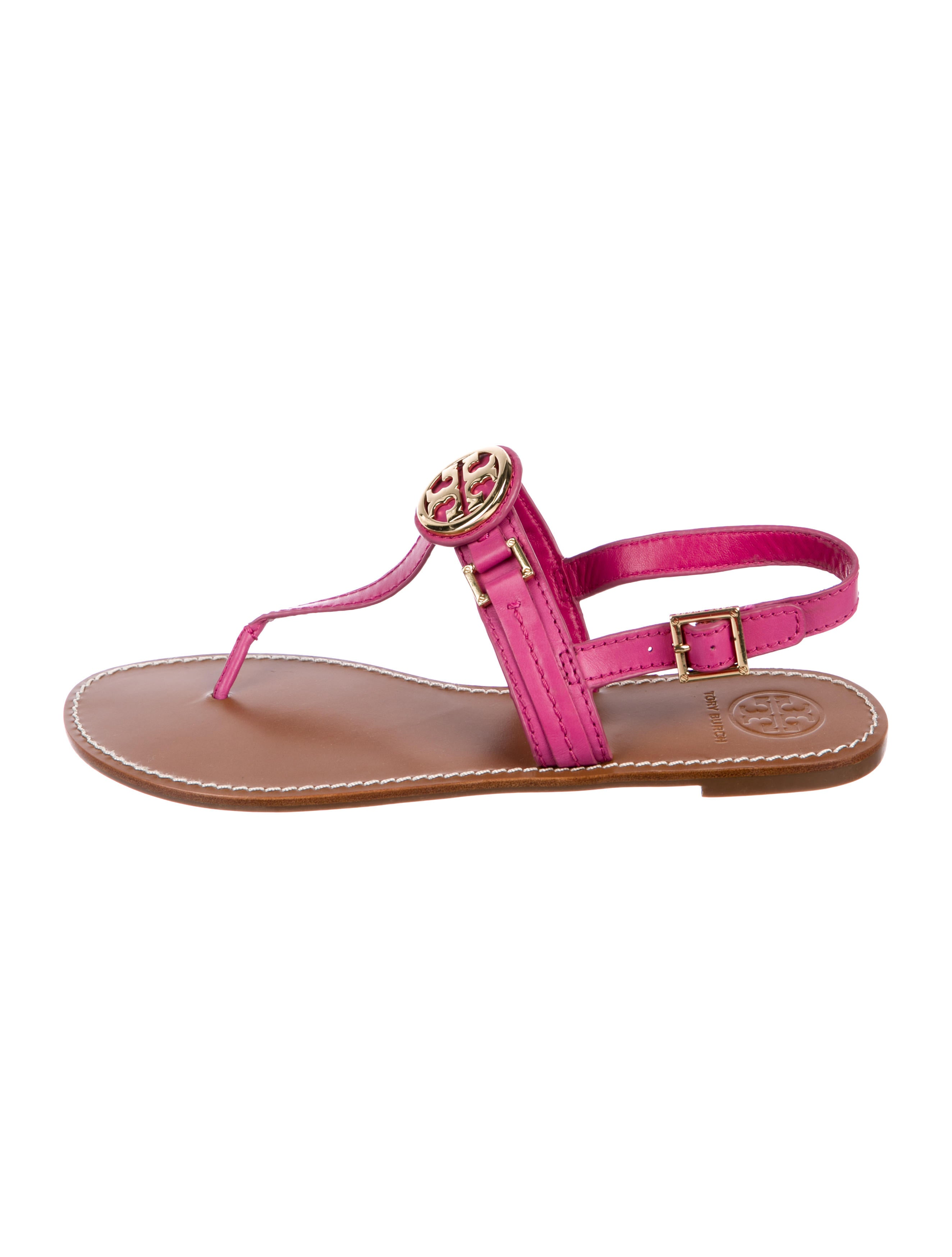 5162b702a66 Tory Burch Leather Logo Thong Sandals - Shoes - WTO181660