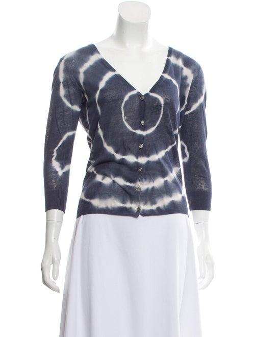 Tory Burch Tie-Dye Cardigan Sweater white