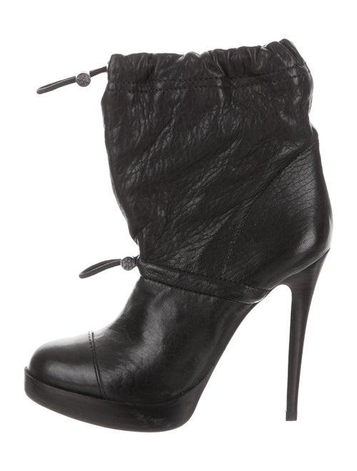 Tory Burch Leather Platform Boots Black