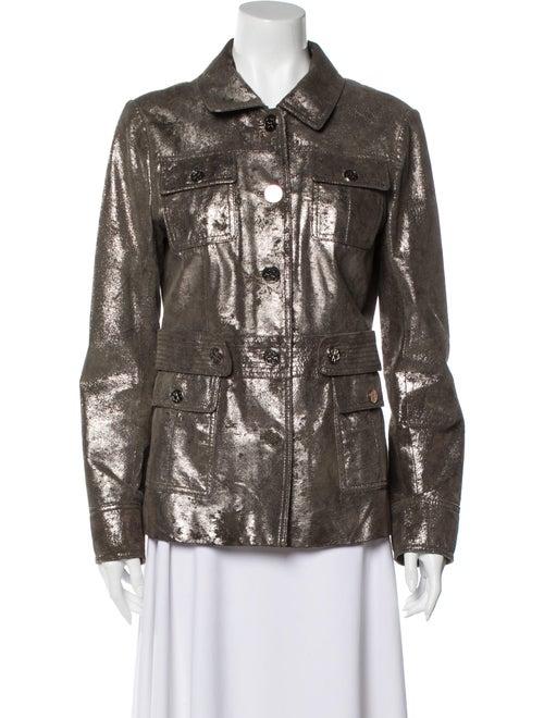 Tory Burch Leather Biker Jacket Silver