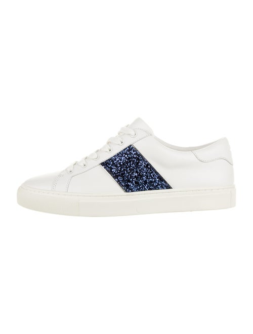 Tory Burch Leather Glitter-Accented Sneakers White