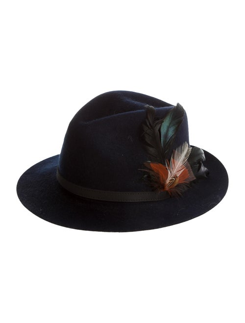 Tory Burch Wool Fedora Hat Navy