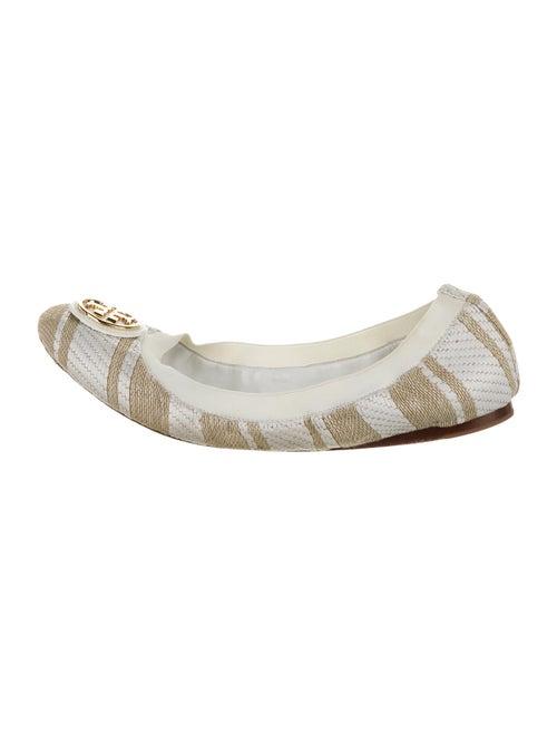 Tory Burch Striped Ballet Flats White