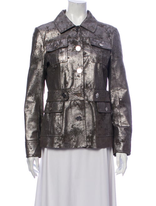 Tory Burch Leather Printed Utility Jacket Silver