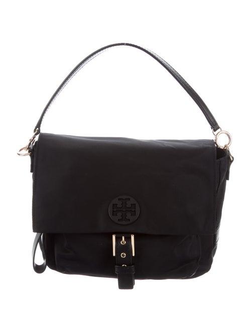 Tory Burch Leather-Trimmed Nylon Shoulder Bag Blac