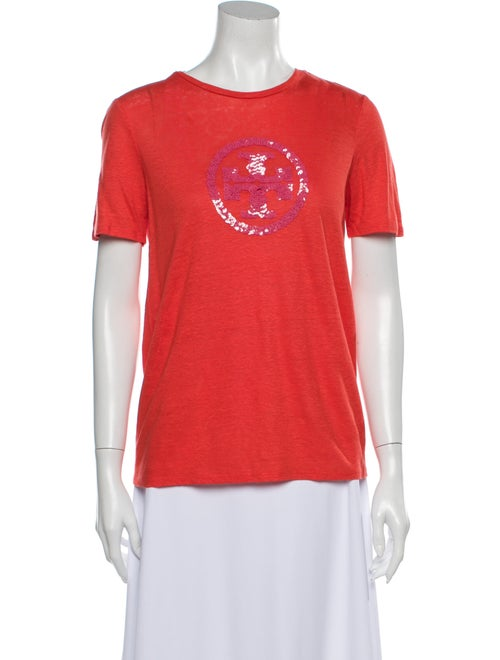 Tory Burch Linen Graphic Print T-Shirt Orange
