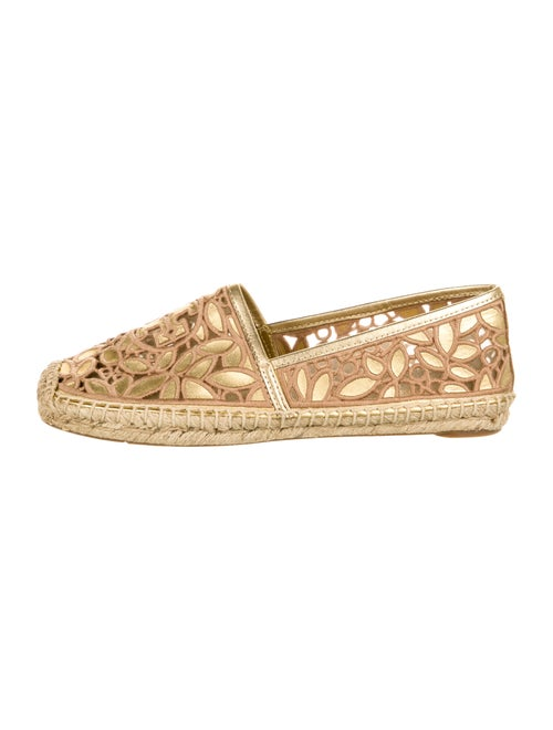 Tory Burch Leather Lace Pattern Espadrilles Gold