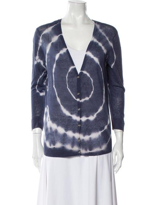 Tory Burch Linen Tie-Dye Print Sweater Blue