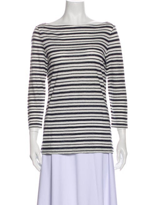 Tory Burch Linen Striped T-Shirt Blue