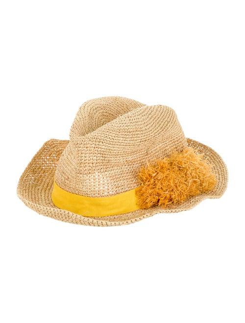 Tory Burch Raffia Appliqué Hat Tan