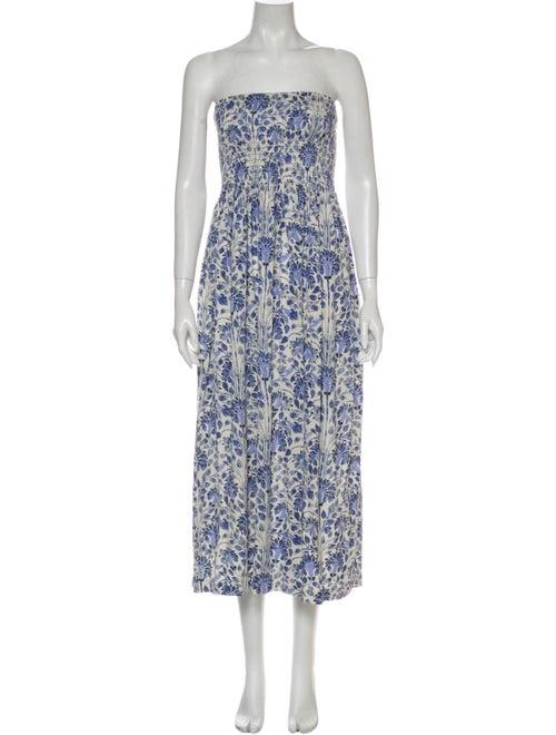 Tory Burch Floral Print Knee-Length Dress Blue