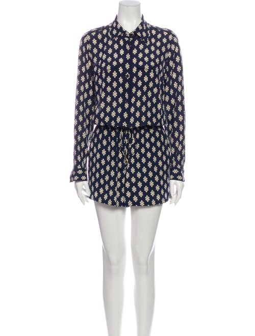 Tory Burch Silk Printed Romper Blue
