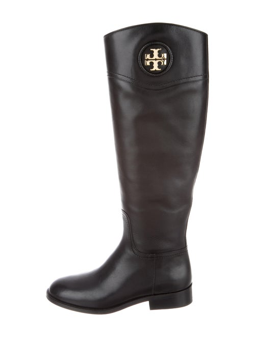 Tory Burch Vegetarian Leather Riding Boots Black