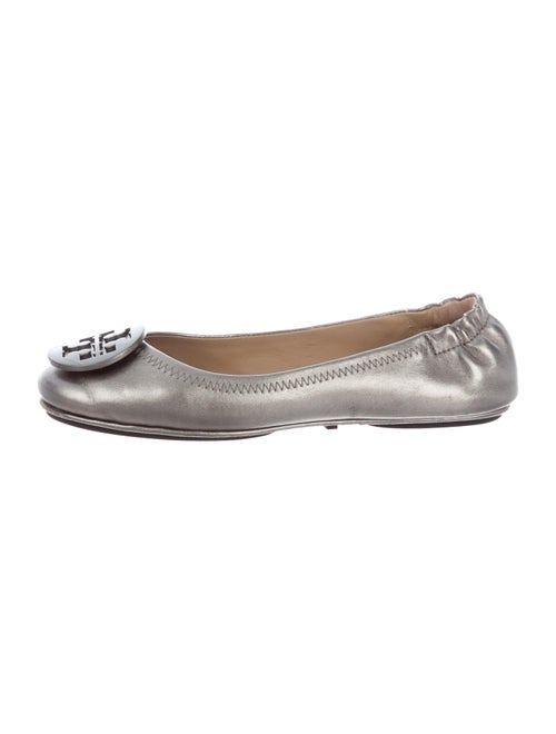 Tory Burch Leather Ballet Flats Silver