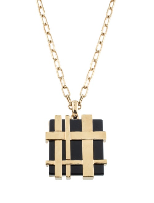 Tory Burch Gingham Pendant Necklace Gold