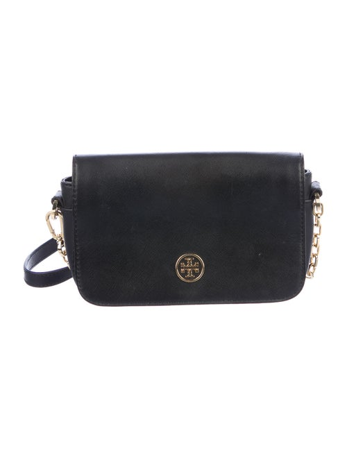 Tory Burch Leather Flap Crossbody Bag Black