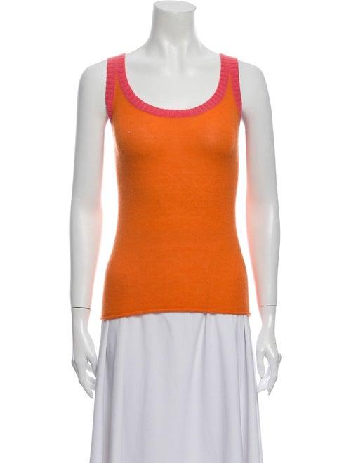 Tory Burch Cashmere Scoop Neck Sweater Orange