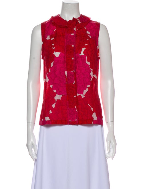 Tory Burch Floral Print Crew Neck Top Red
