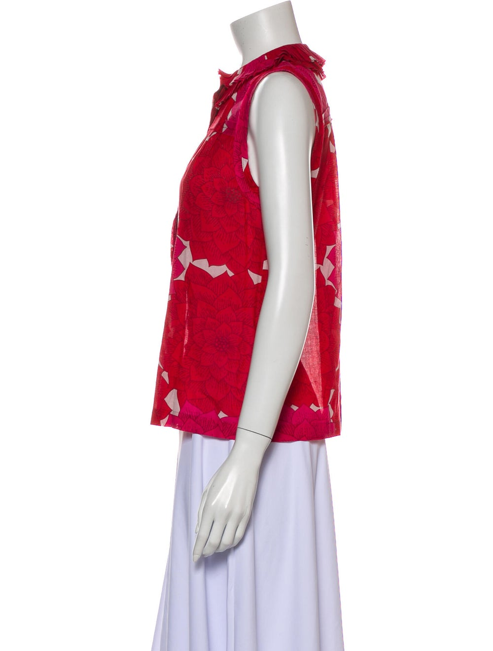 Tory Burch Floral Print Crew Neck Top Red - image 2