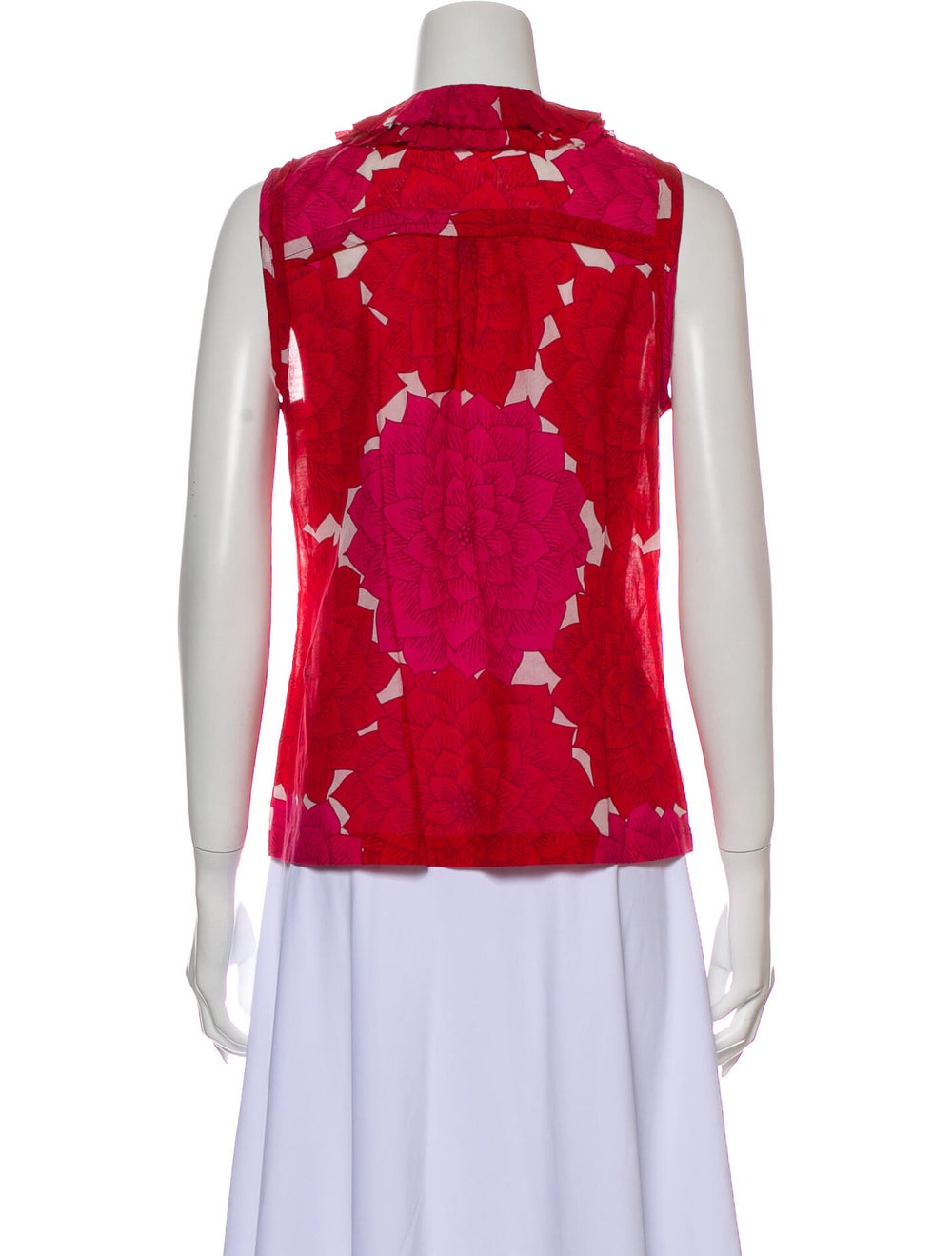 Tory Burch Floral Print Crew Neck Top Red - image 3
