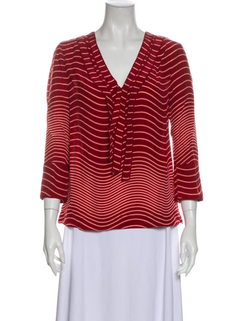 Tory Burch Silk Striped Blouse w/ Tags Red
