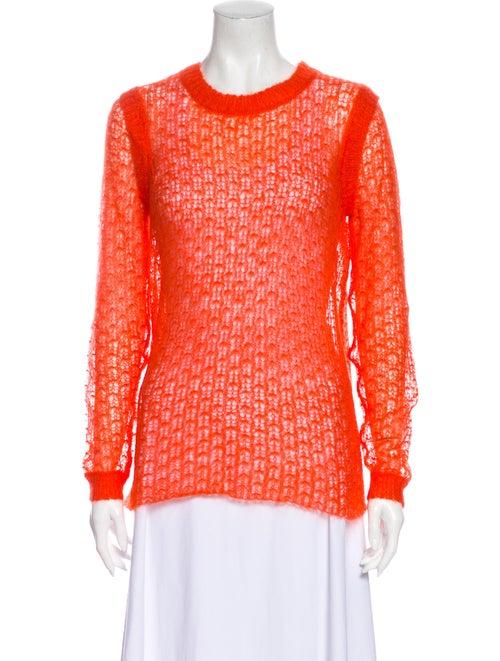 Tory Burch Mohair Crew Neck Sweater Orange