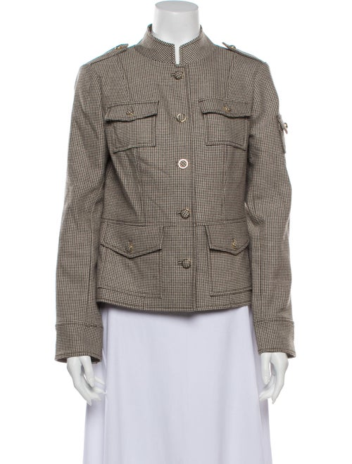 Tory Burch Houndstooth Print Utility Jacket Brown