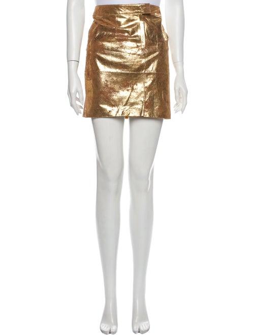 Tory Burch Leather Mini Skirt Gold