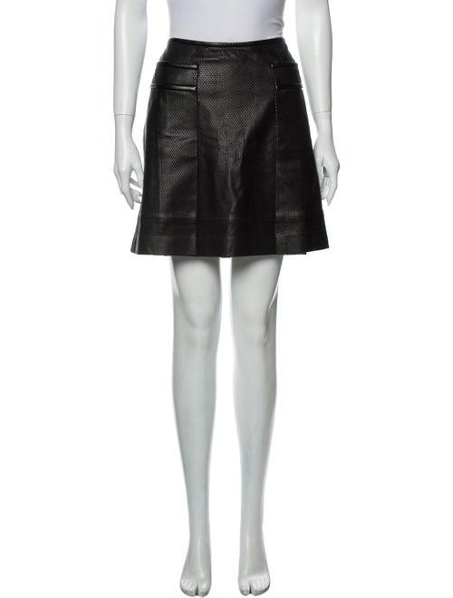 Tory Burch Leather Mini Skirt Black