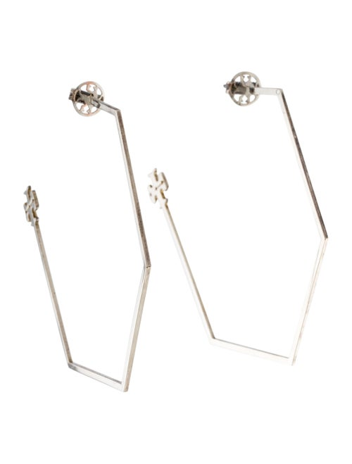 Tory Burch Reva Hexagon Hoop Earrings Silver