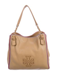 Tory Burch Grained Leather Logo Tote