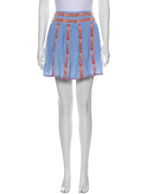 Tory Burch Striped Mini Skirt Blue