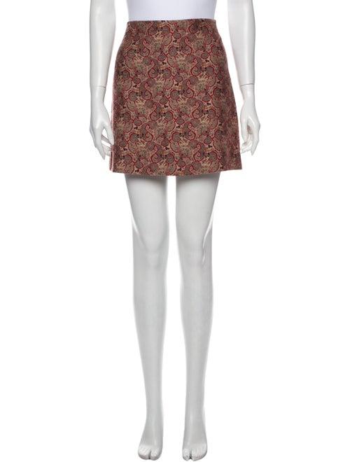 Tory Burch Floral Print Mini Skirt Red