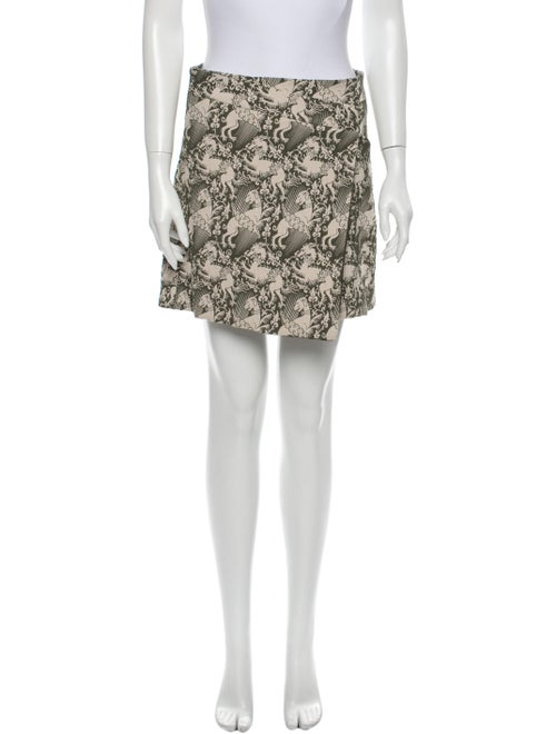 Tory Burch Floral Print Mini Skirt Green