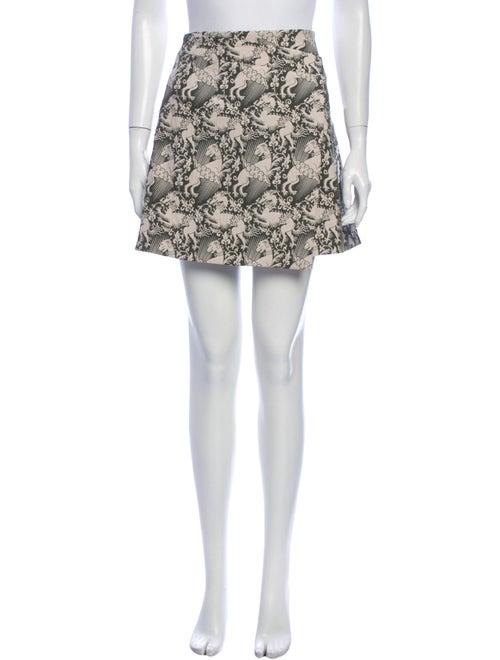 Tory Burch Printed Mini Skirt Green