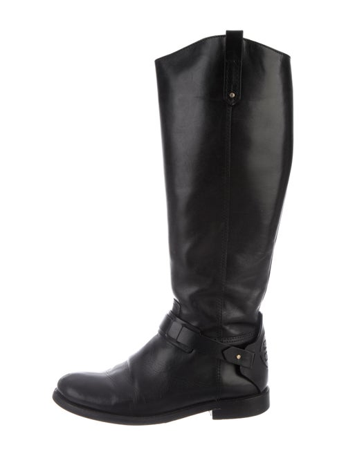 Tory Burch Derby Riding Leather Riding Boots Black