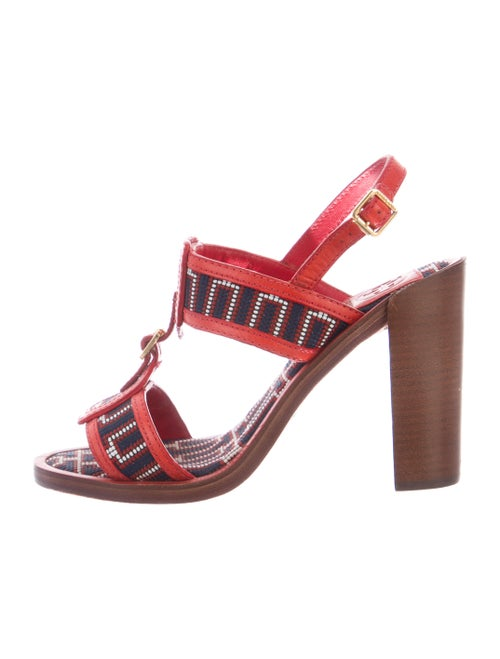 Tory Burch Leather Patterned T-Strap Sandals Red