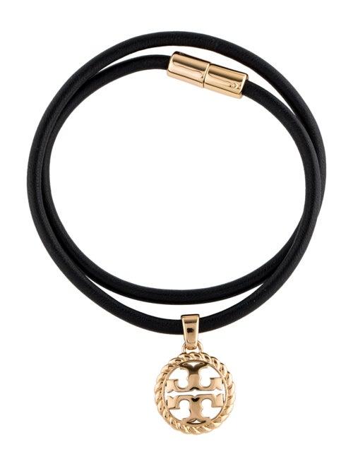 Tory Burch Rope Logo Leather Wrap Bracelet Gold
