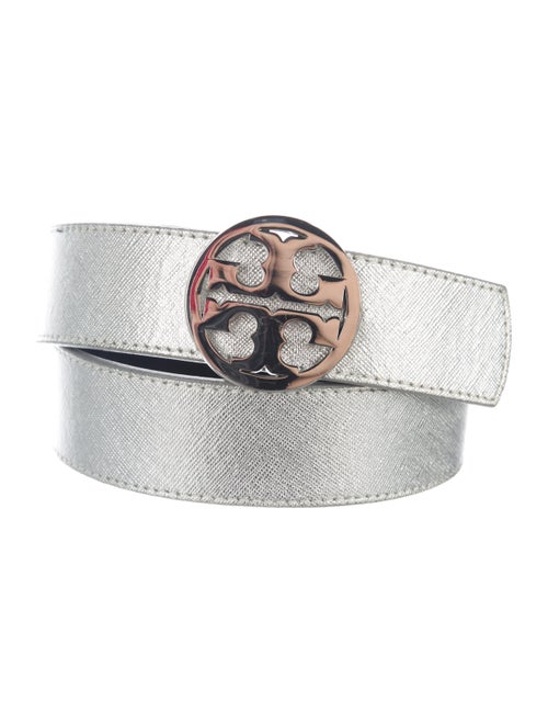 Tory Burch Leather Belt Silver