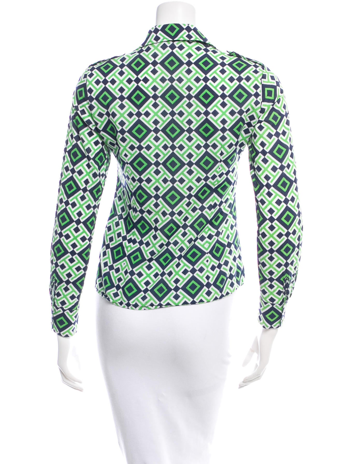 Tory Burch Abstract Print Button Up Shirt Clothing