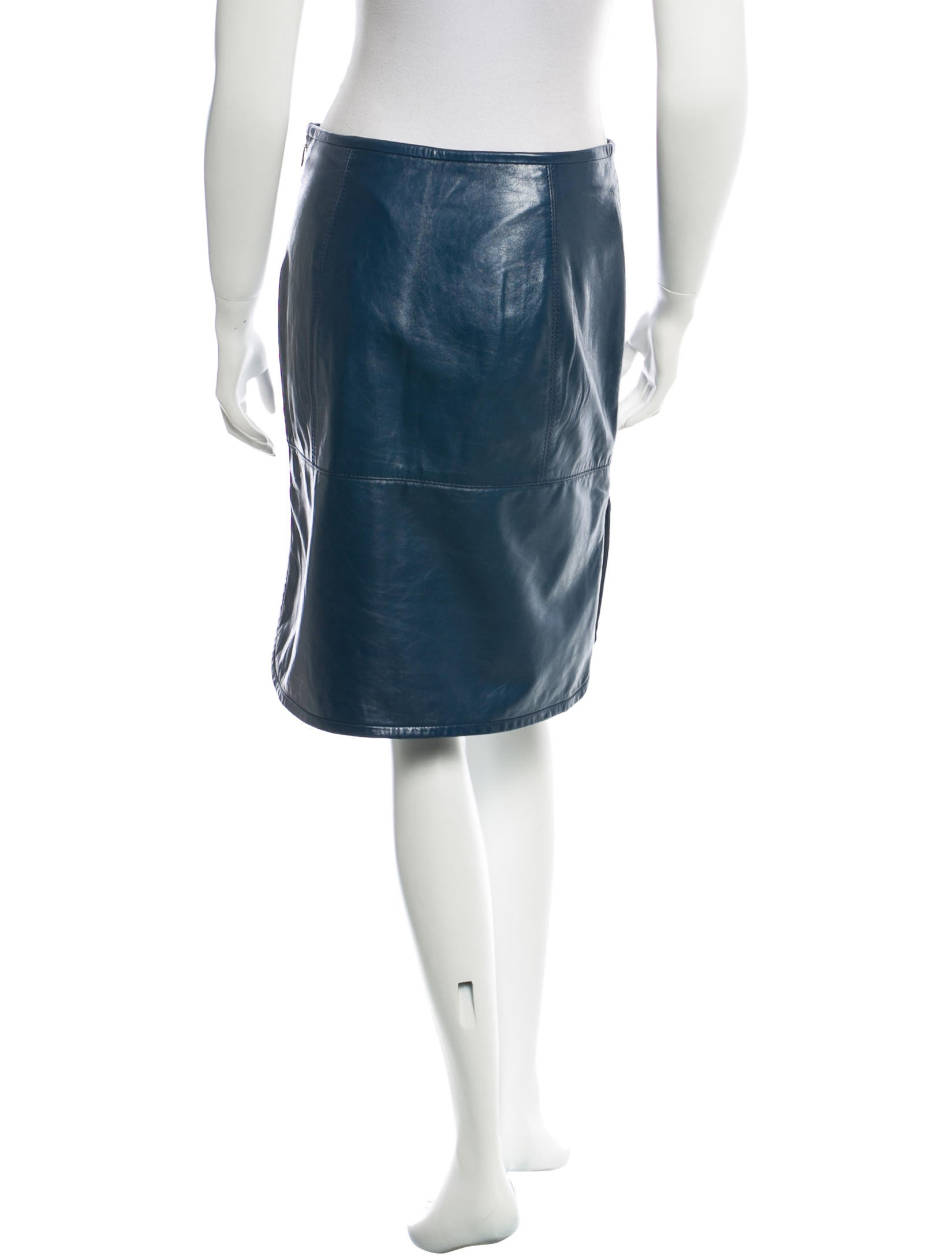 burch leather knee length skirt clothing wto55383
