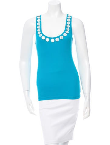 Tory Burch Embellished Rib Knit Top None
