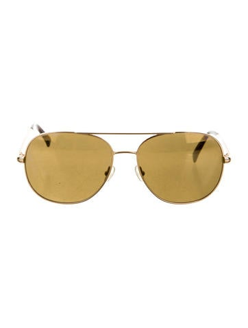 Gold-Tone Reflective Aviator Sunglasses