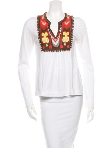 Tory Burch Embellished Woven Top None
