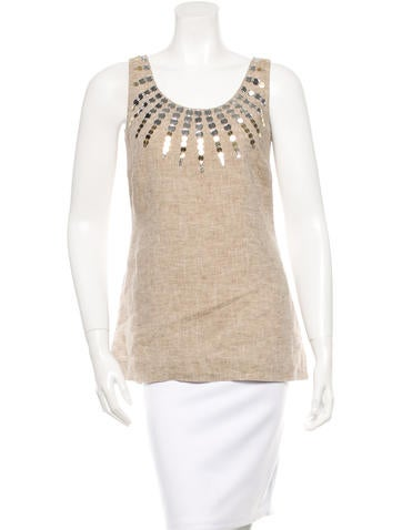 Tory Burch Embellished Linen Top None