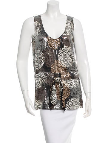 Tory Burch Sequin Embellished Silk Top w/ Tags None